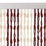 Vliegengordijn knopen rood/ivoor 90x200cm_