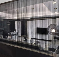Brandvertragende draadjesgordijnen zwart 300x300cm