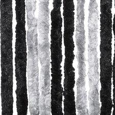 Vliegengordijn kattenstaart 90x220cm mét opbergtas (grijs/zwart)