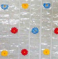Vliegengordijn met foto insteekvakjes en bloemen 90x200cm