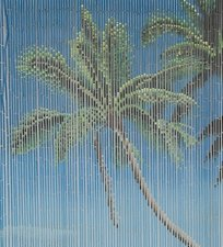Bamboe vliegengordijn palm op strand 90x200cm