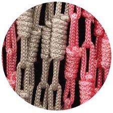 Vliegengordijn knopen grijs/roze 90x200cm
