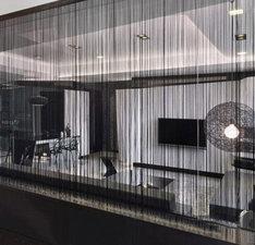 Brandvertragende draadjesgordijnen zwart 90x250cm