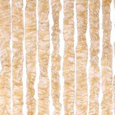 Vliegengordijn kattenstaart 90x220cm mét opbergtas (beige/wit)