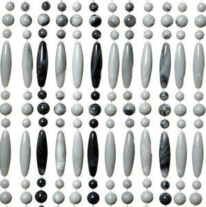 Vliegengordijn kralen recht grijs/wit 90x210cm
