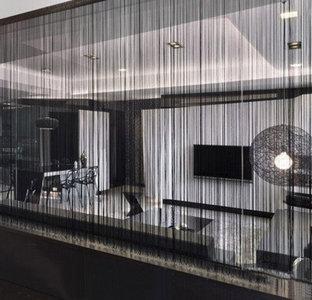 Brandvertragende draadjesgordijnen zwart 300x500cm